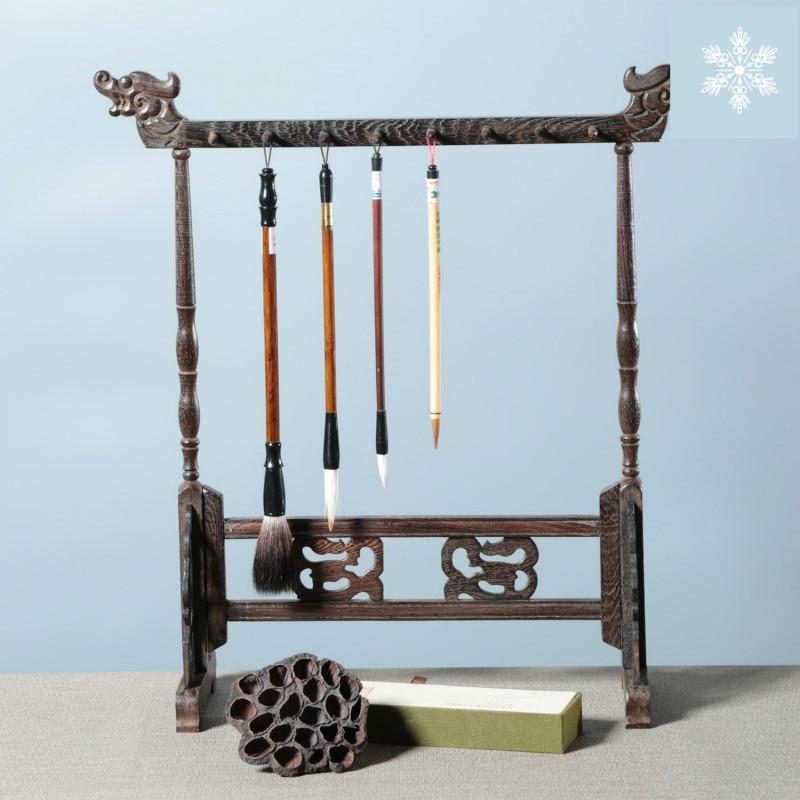 Soporte para pinceles Redwood, soporte para bolígrafo de caligrafía colgante con pincel chino tradicional 12/14/16 ganchos, soporte para bolígrafo de madera con ala de pollo para colgar