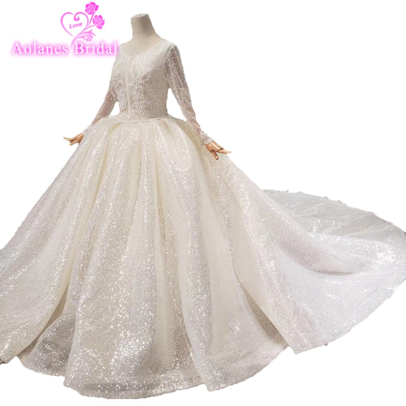 Musulmán Robe De Mariage Ball Gown Vestidos De Novia lujosos Vestidos De boda De encaje De manga larga vestido De Novia Vestidos De Novia