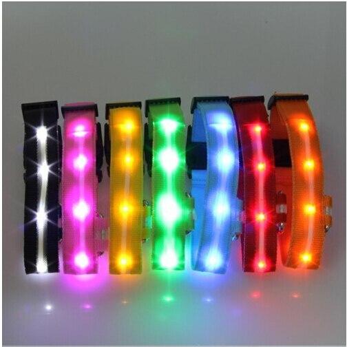Cães Colar de Segurança noite LED, Luzes Piscando Glow In Escuro Pet Elétrica Coolars Nalon 5 Cores
