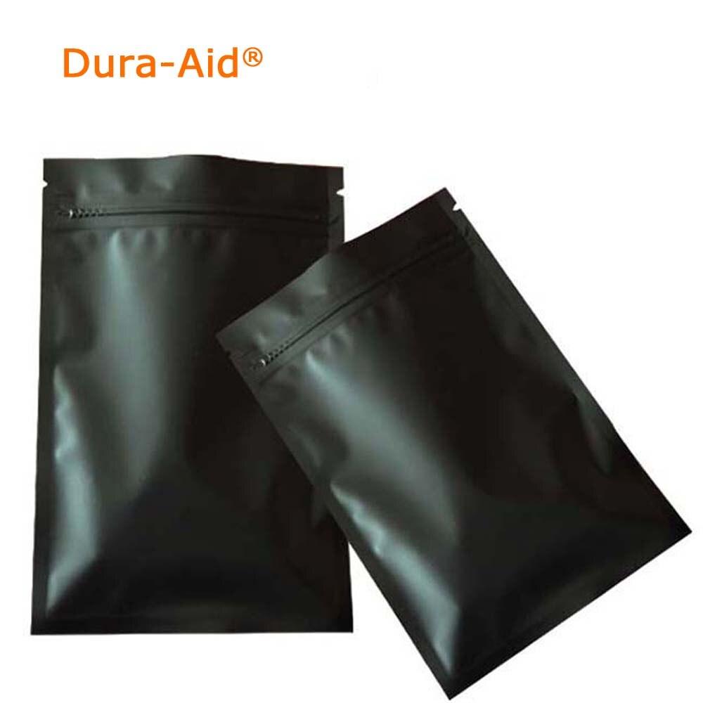 Dura-Aid 100 Uds bolsa Ziplock pequeña de papel de aluminio negro mate con fondo plano metálico Mylar bolsa con cremallera negra bolsa de Spinner antiestrés a base de hierbas