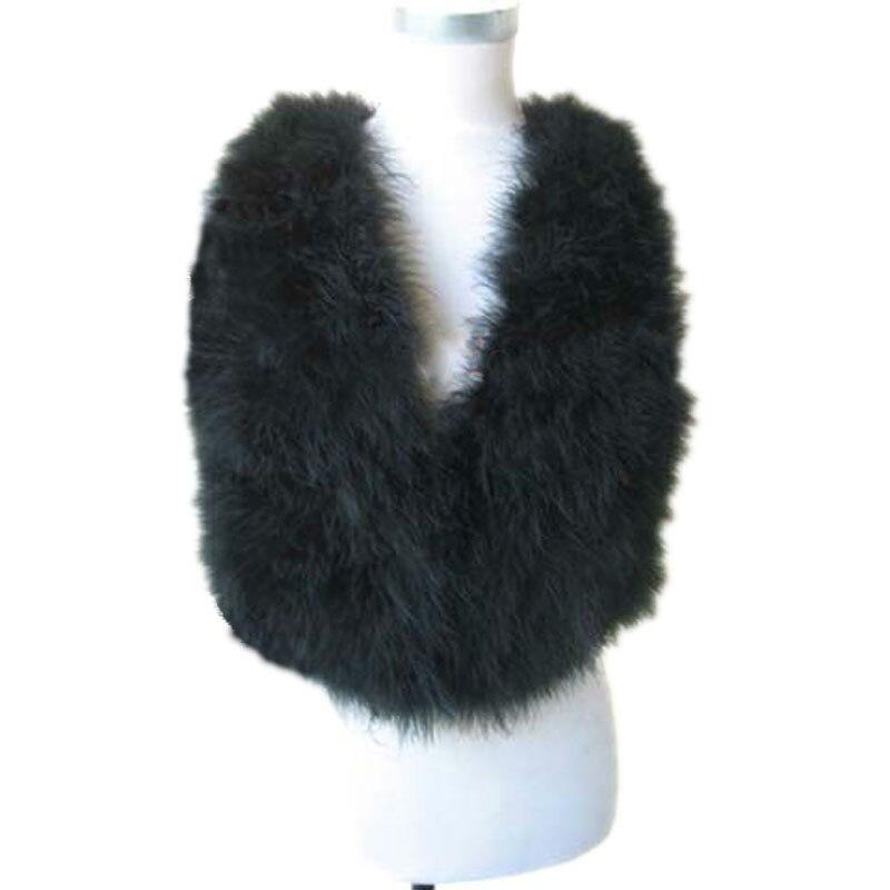 Chaleco de piel de plumas de avestruz Real para mujer negro cálido abrigo de invierno