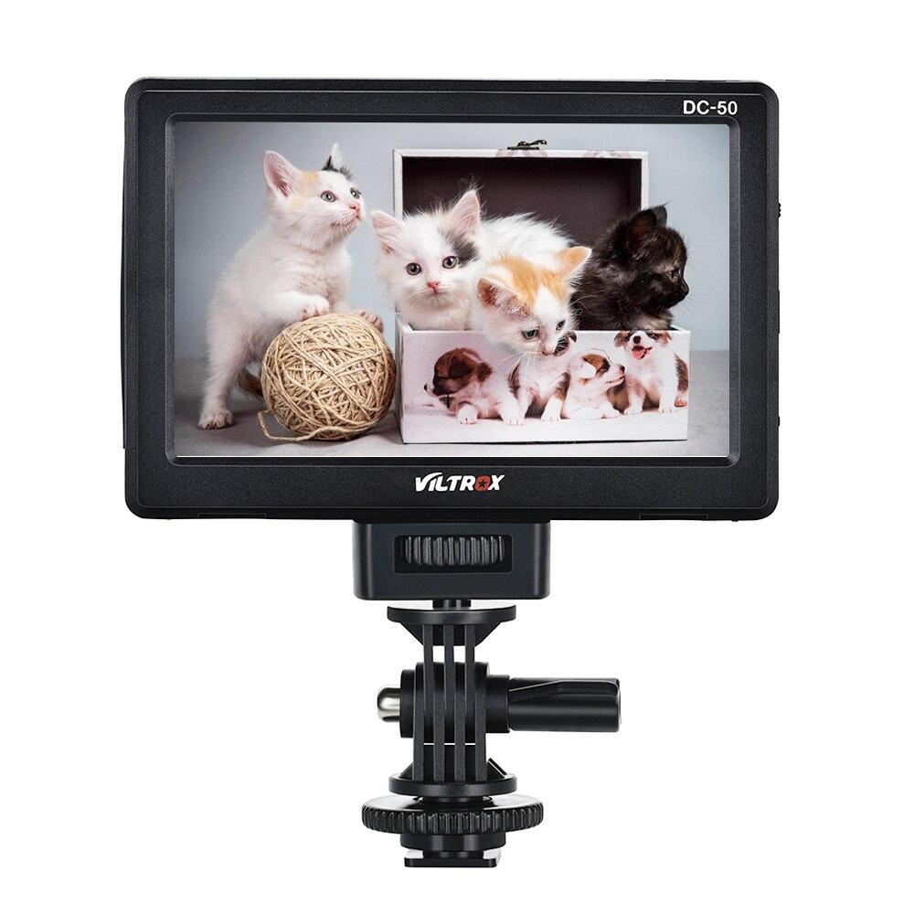 Viltrox portátil DC-50 HD Clip-en la pantalla LCD de 5 pulgadas Monitor de vista panorámica Cable HDMI con bolsa de transporte para Canon Nikon Sony DSLR cámara DV