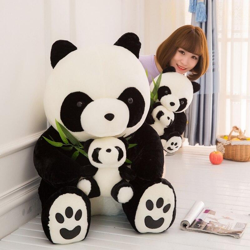Dorimytrader gran simulación Animal Panda peluche suave mamá y Chico muñecos Panda para niños regalo Deco 70cm 90cm