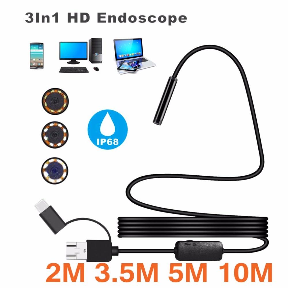 Boroscopio 8mm a prueba de agua IP 68 2M 3,5 M 5M 10M Cable 1200P HD 3 en 1 endoscopio para ordenador tubo 8 LEDs inspección Cámara boroscopio