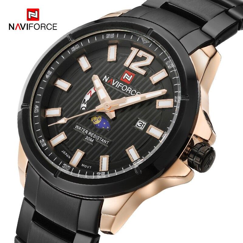 NAVIFORCE Men Sports Watches Full Steel Fashion Brand Business Quartz Wrist Watch Waterproof Casual Clock Male Relogio Masculino