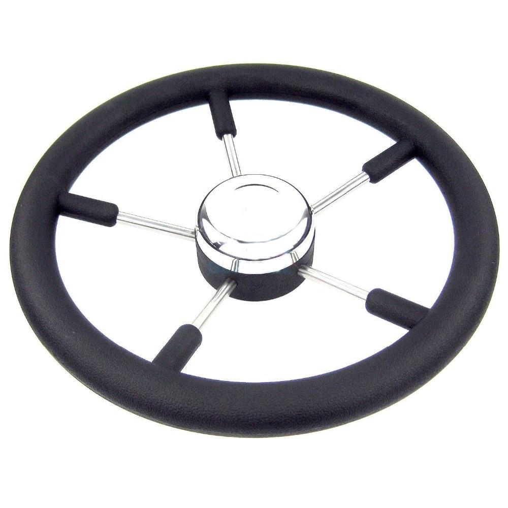 AliExpress - Boat Accessories marine  13-1/2″  5-Spoke Boat Stainless steel Steering Wheel with Polyurethane Foam Black Fits 3/4″ Shaft