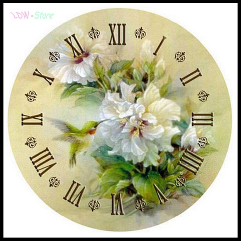Reloj con diseño de flor de lirio y pájaro, bordado de diamantes en 3d con diseño de mosaico de diamantes de moda para regalo de diamantes de imitación WG548