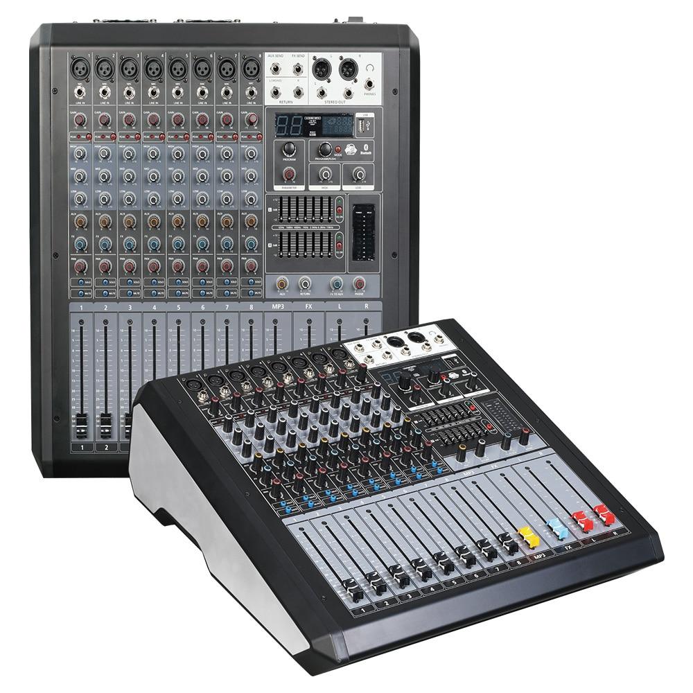 وحدة تحكم لخلط الصوت ، ومسجل طاقة فانتوم 48 فولت ، مع تأثير AUX ، مسار 8-12 قناة ، يأتي USB مع مضخم طاقة JD