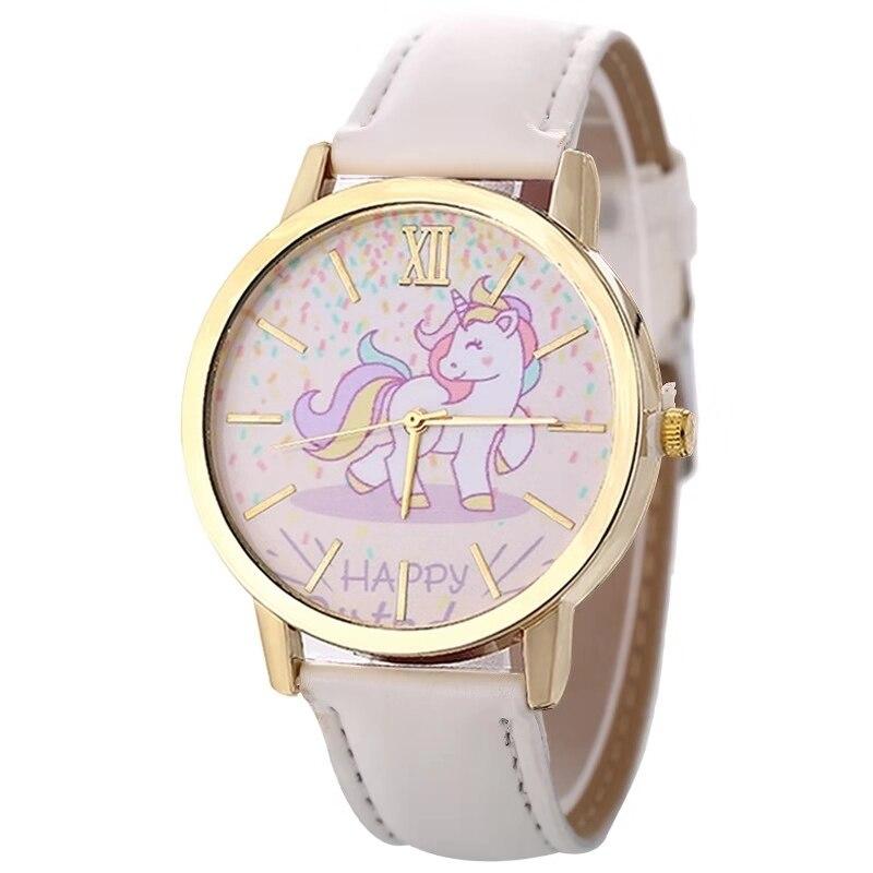 Модные горячие продажи мужские и женские детские часы Единорог Кожа с кварцевыми часами детские часы