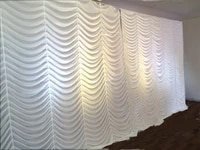 3x6m white water fall wedding backdrop stage curtain wedding drapes