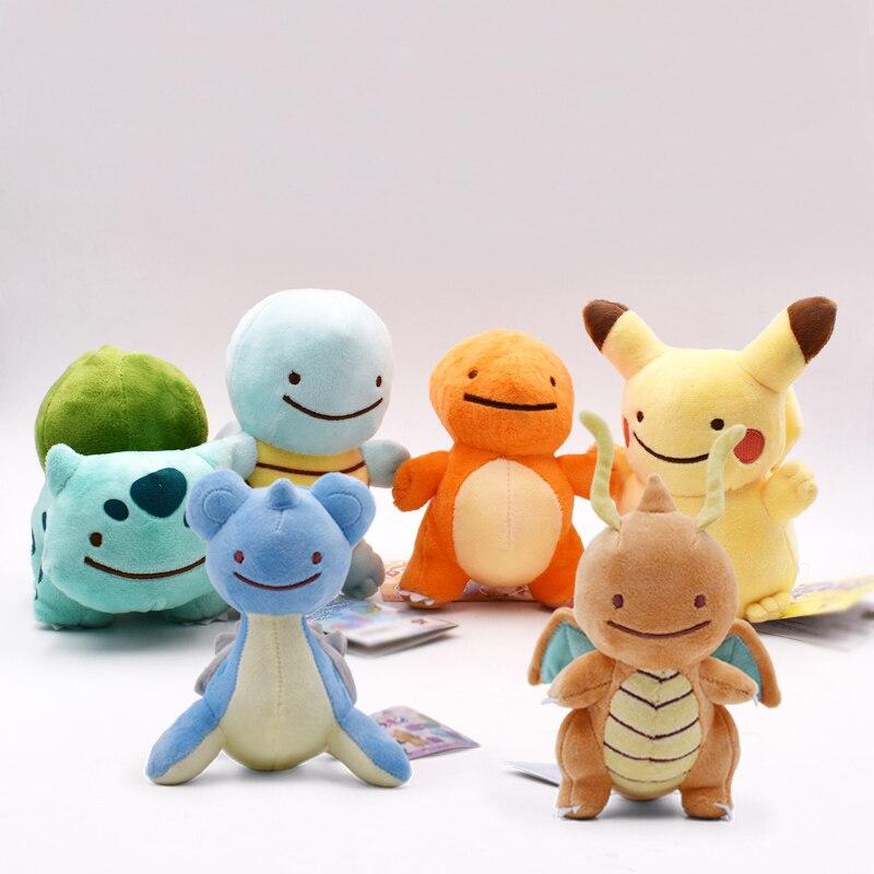 6 стилей горячие игрушки Peluche DITTO Lapras & Dragonite & Pikachu & Squirtle & Bulbasaur & Charmander 12-16 см плюшевые куклы