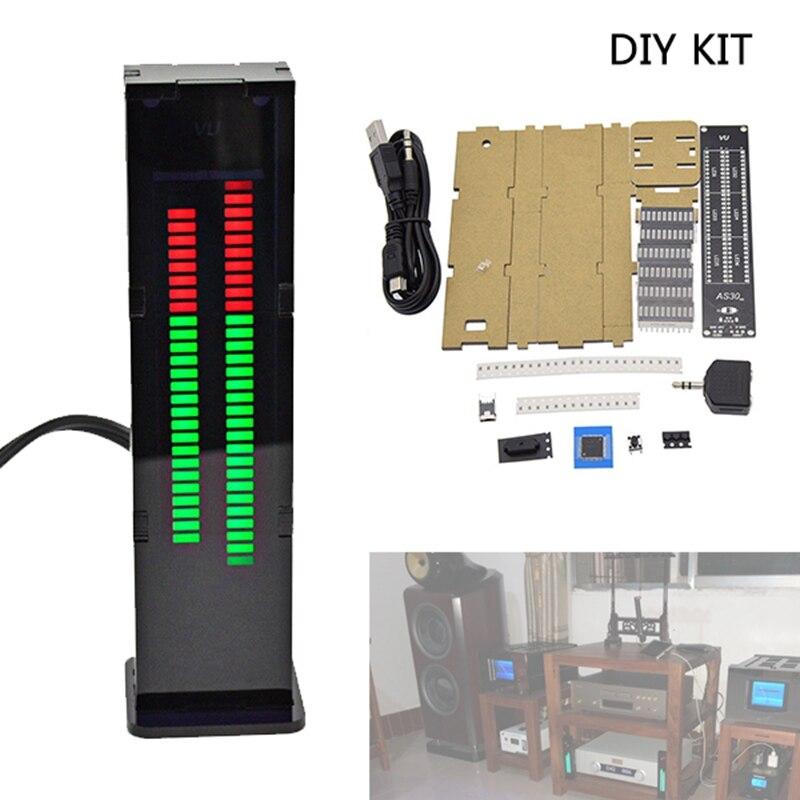 DIY profesional AS30 30 30 segmentos analizador de espectro de música estéreo LED Kits de visualización de nivel Medidor de Vu Kits de bricolaje Medidor de Vu DE ESPECTRO DE MÚSICA