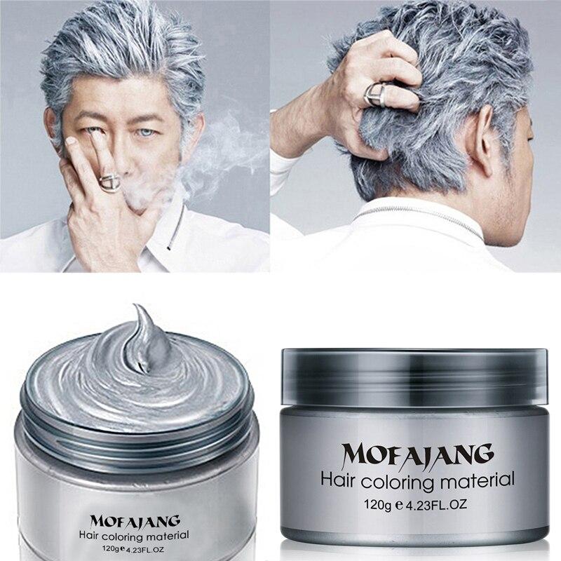 Pomada de cera de Color para el cabello, Color plateado, Color gris, tinte temporal para el cabello, molde de moda desechable, crema de barro colorante, 120g