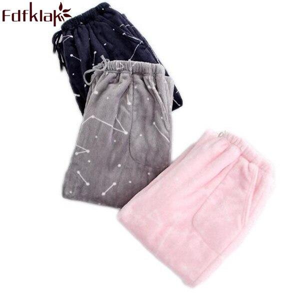 Fdfklak, pantalones de casa para dormir para mujer, pijamas de invierno de franela para parejas, pantalones de estilo de pijama con estampado grueso, pantalones de salón para mujer Q420