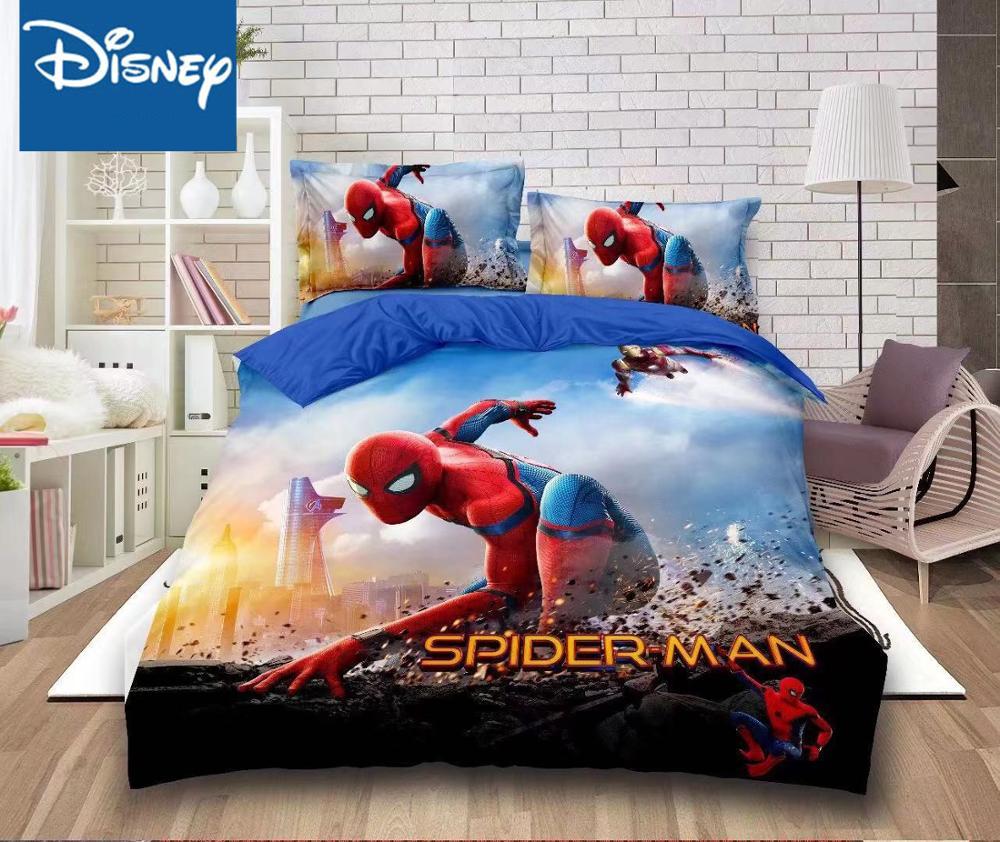 ديزني الرجل العنكبوت الفراش مجموعة التوأم حجم حاف يغطي ملاءات للأطفال السرير الديكور واحدة المفارش الفتيان الأطفال المنزل 2-4 قطعة
