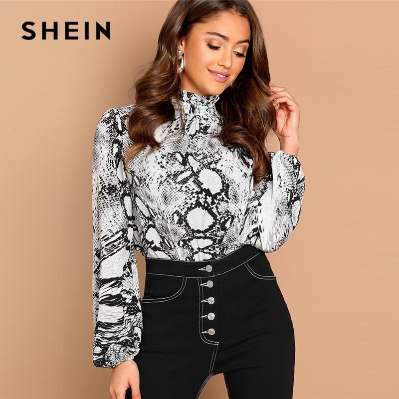 Blusas informales SHEIN Multicolor con estampado de piel de serpiente y cuello alto y manga larga con botones y volantes para mujer