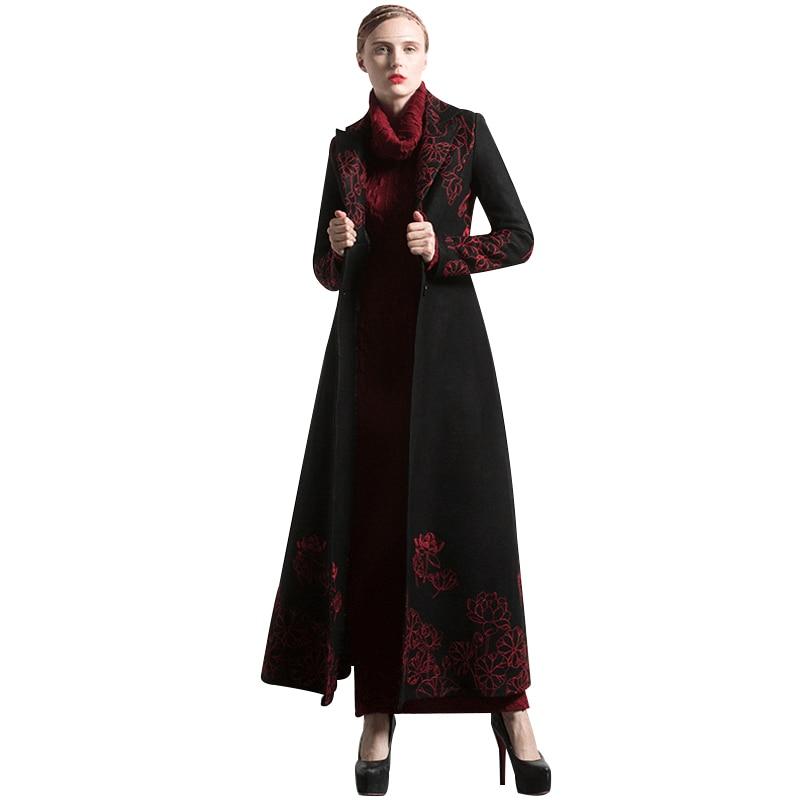 Nova moda S-XXXL outono inverno bordado preto longo casaco florais plus size luxo trench feminino muçulmano outwear 6254