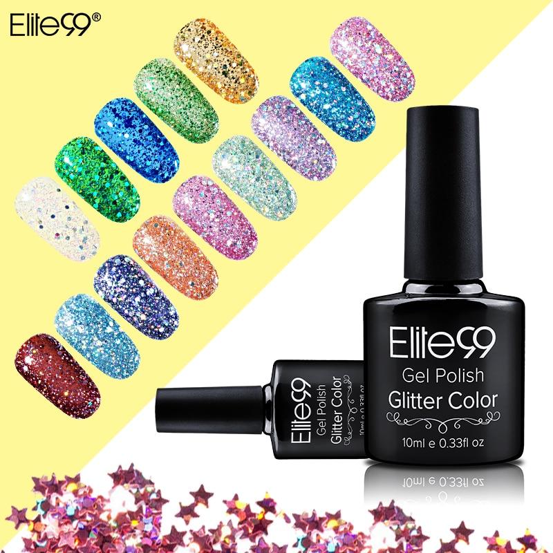 Elite99 10ml Semi-permanent Bling Glitter UV Nail Polish Sequins Gel Nail Manicure Soak Off Gel Polish Need UV Led Lamp Curing