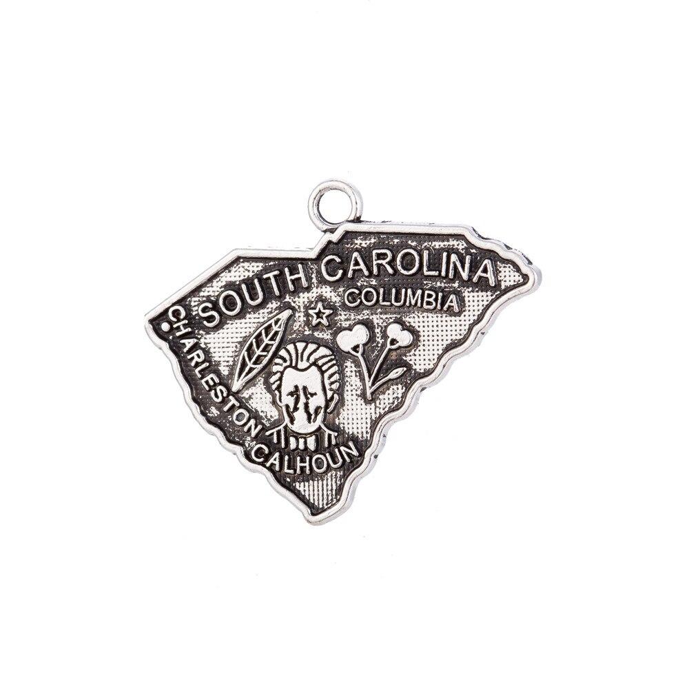 My shape 30 pièces nouveau Design caroline du sud carte charme Antique pendentif 26*22mm bijoux pour la décoration