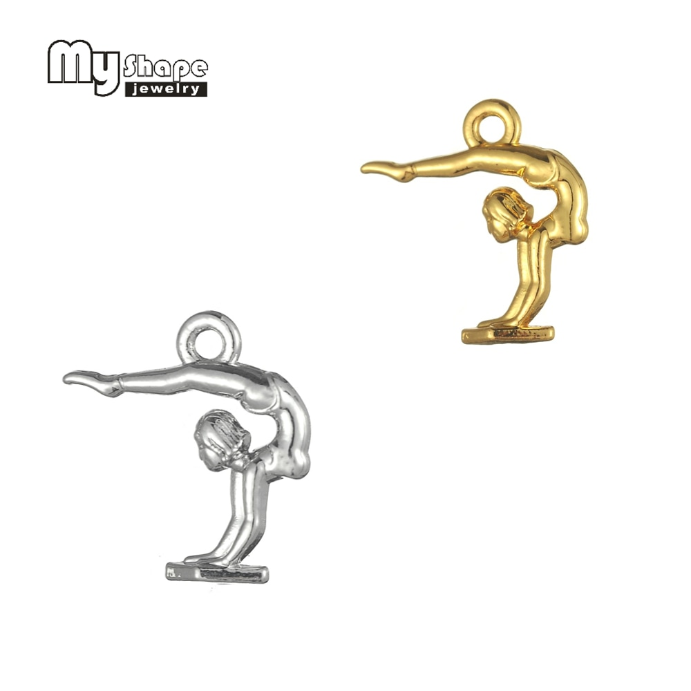 My Shape 30pcs Gymnast Charms for Jewelry Making Alloy Rhodium Golden Tone Choose Gymnastics Girl  3D Berloque Sports Pendants