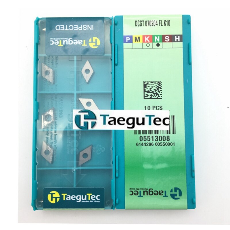 DCGT070204 FL K10 10pcs cnc TaeguTec Negative 80 degree Rhombic Indexable Lathe Tool Turning Cutter