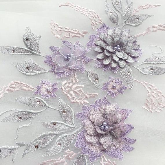 1 шт. фиолетовый цветной 3d цветочный мотив лиф, тяжелые бисерные Кружева с аппликацией, тяжелая аппликация вышитый цветок