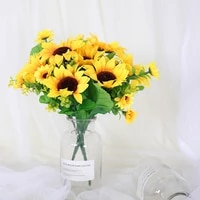 autumn decoration 13 heads yellow sunflower silk artificial flowers bouquet for home party garden decoration flower arrangement