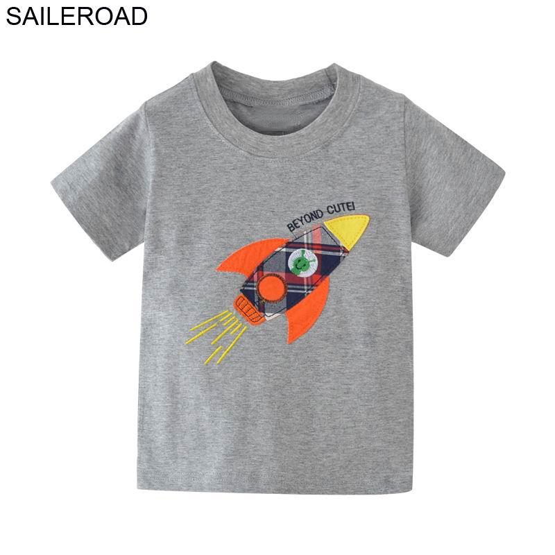 SAILEROAD Rocket bordado ropa para camisetas bebés para niños Tops ropa para camisetas niños verano niños pantalones cortos ropa
