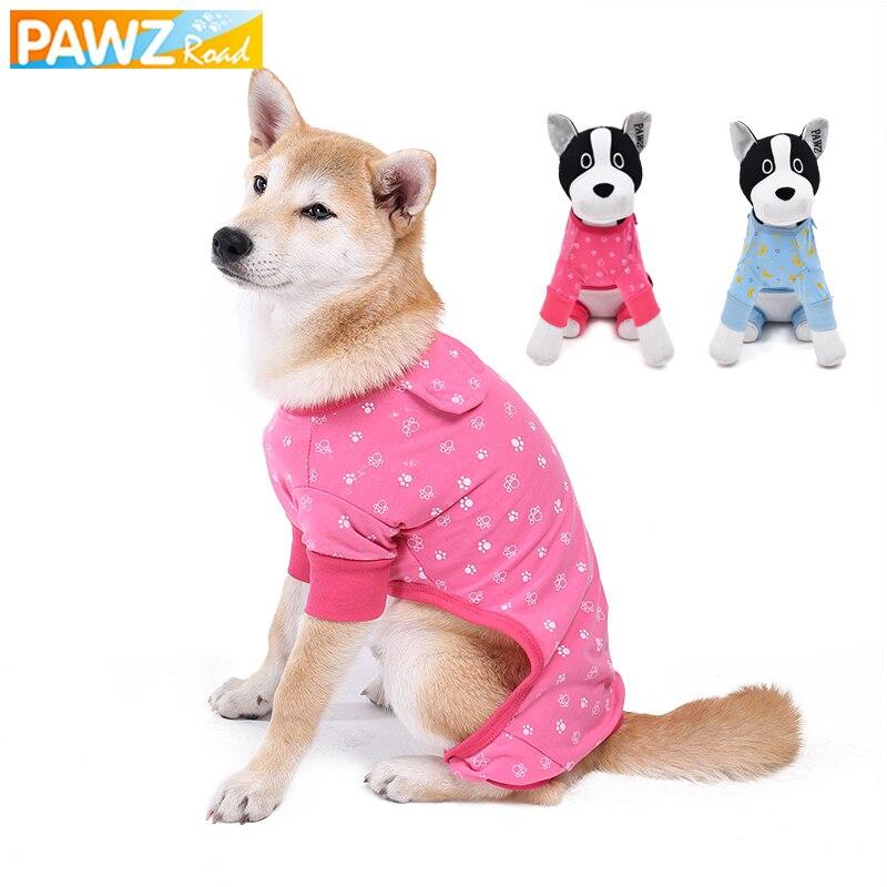PAWZRoad mascota perro mono ropa para pijamas de perro pequeño rosa azul gato ropa camisa pata estampado perro cachorro disfraz transpirable