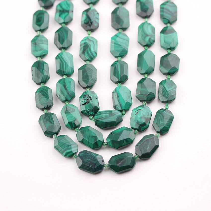 Hebra completa, facetado piedras de verde malaquita Octangle cuentas collar, perforado losa suelta hecha a mano pulsera pendientes joyería