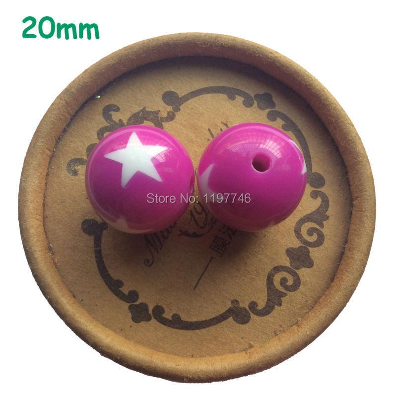 20MM 115 unids/lote de encantadoras cuentas fucsia con estrellas blancas impresas, cuentas gruesas, collar de cuentas DIY Bubblegum