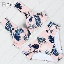 Floylyn maillot de bain grande taille doux plume Sexy Bikini maillot de bain baigneur epaules dénudées Bandeau maillot de bain natation femme
