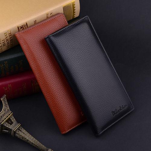 Men's Bifold Leather Multi Credit Card Holder Checkbook Purse Long Wallet Clutch