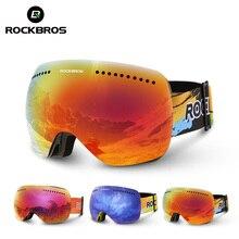 ROCKBROS Double lentilles lunettes de Ski UV 400 Snowboard Ski lunettes hommes grand masque femmes Snowboard lunettes couches lunettes moteur