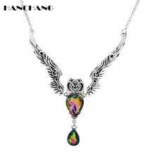 Vintage Owl Pendants Necklaces Women Choker Jewellery Crystal Necklace Big Pendant Fashion Exaggerat