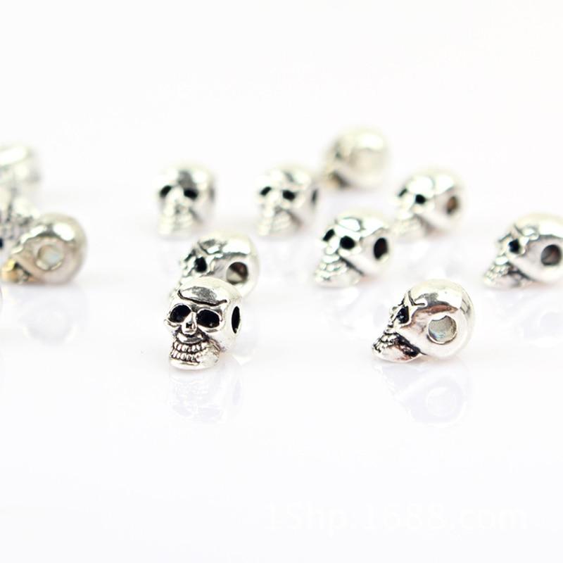 20pcs/lot Tibetan Silver Punk Skull Metal Beads 11x6mm Zinc Alloy Hand Made Spacer Beading Findings DIY Bracelet Jewelry Making