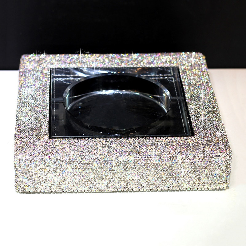 Cenicero grande de cristal fino con forma de diamante para almacenaje de Cenicero de coche, cigarrillos, hogar, oficina, mesa de centro, para fumar, regalos de cumpleaños