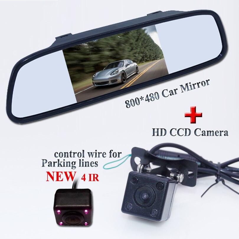 Venta caliente Universal cámara de visión trasera del coche 4IR cámara de respaldo de aparcamiento de coche + HD 4,3 pulgadas espejo Monitor sistema de aparcamiento