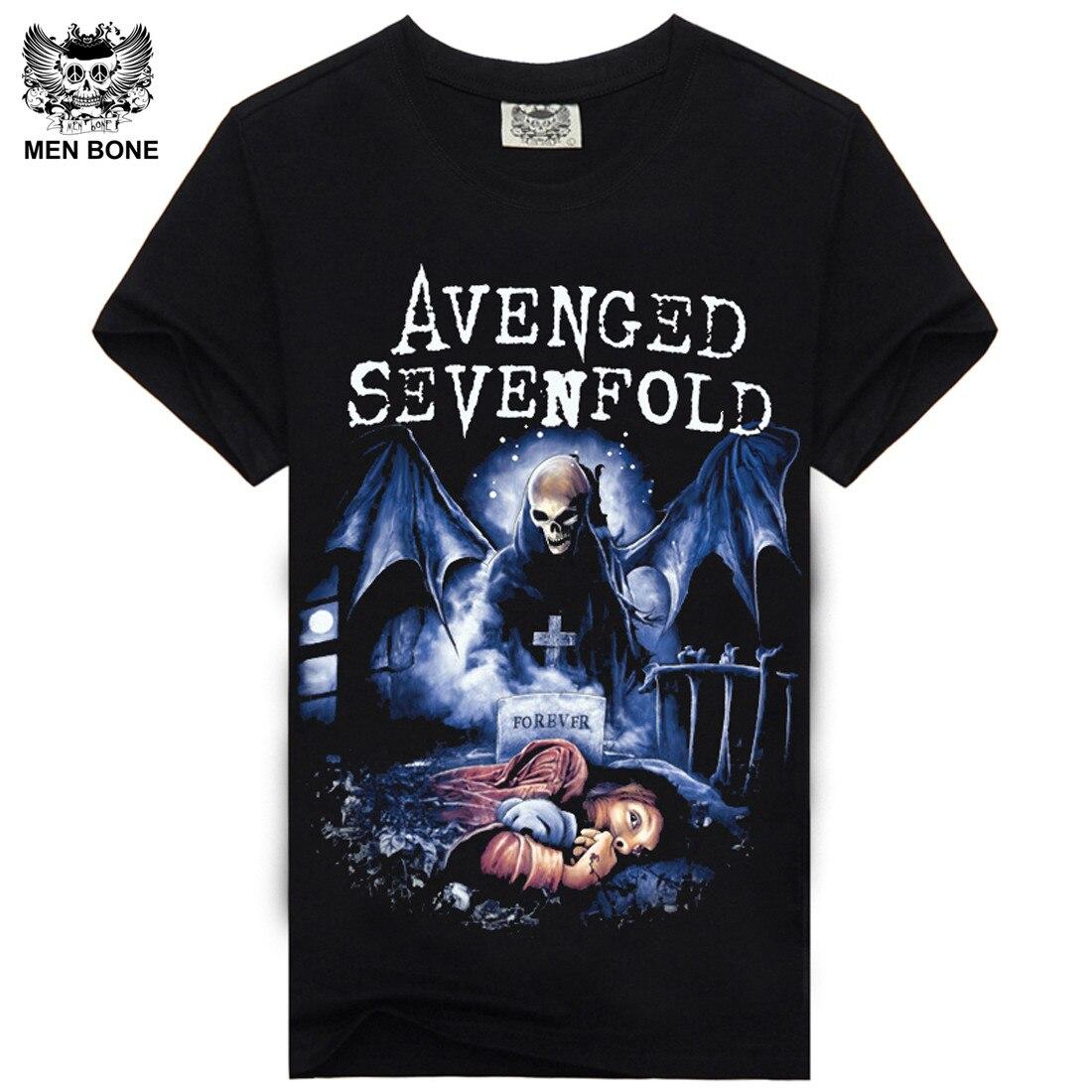 [Men bone] vingado sevenfold heavy metal rock men t shirt impressão t-shirts de manga curta o pescoço hiphop casual camiseta
