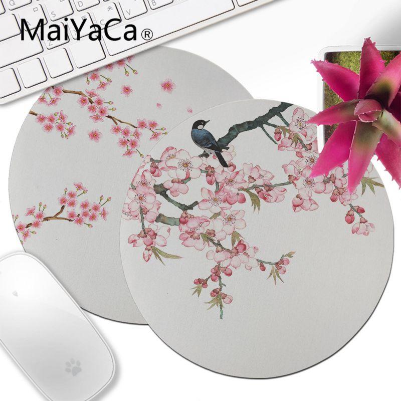 MaiYaCa ciruela flor pájaro pequeño fondo blanco juego velocidad ratones al por menor alfombrilla de ratón redonda DIY más vendidos alfombrilla de ratón antideslizante anime