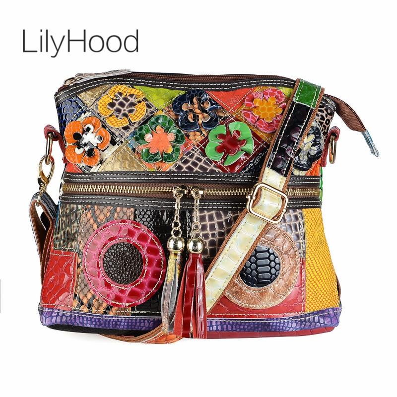 Bolsa de pele de cobra feminina, bolsa de couro genuíno de patchwork, multicolor, de crocodilo natural, bolsa de mensageiro