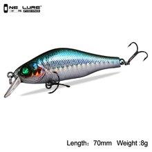 Un señuelo de pesca 70mm 8g ojos 3D Crankbait Wobblers Minnow señuelos cebos duros artificiales cinco colores disponibles modelo 3504