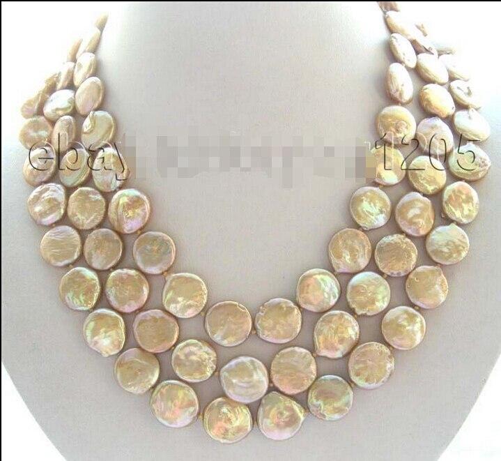 Envío Gratis> 3 filas collar de perlas de champán Natural de 14mm
