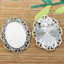 5 pièces en argent Tibétain floral jante ovale cabochon paramètres avec péroné EF2065