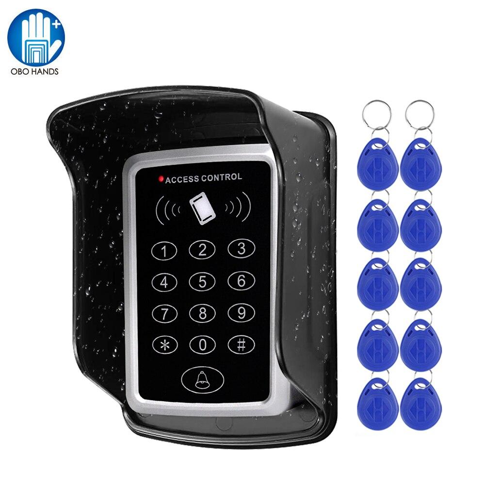 Teclado RFID, sistema de control de acceso de puerta, cubierta protectora impermeable, impermeable, para exteriores, lector de tarjetas EM de 125 KHz, abridor de puertas, 10 Uds.