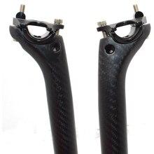 Plein vélo en fibre de carbone tige de selle vtt pièces de vélo de route superlight tige de selle 3 k mat 27.2/30.8/31.6*350 400 MM offset 25mm