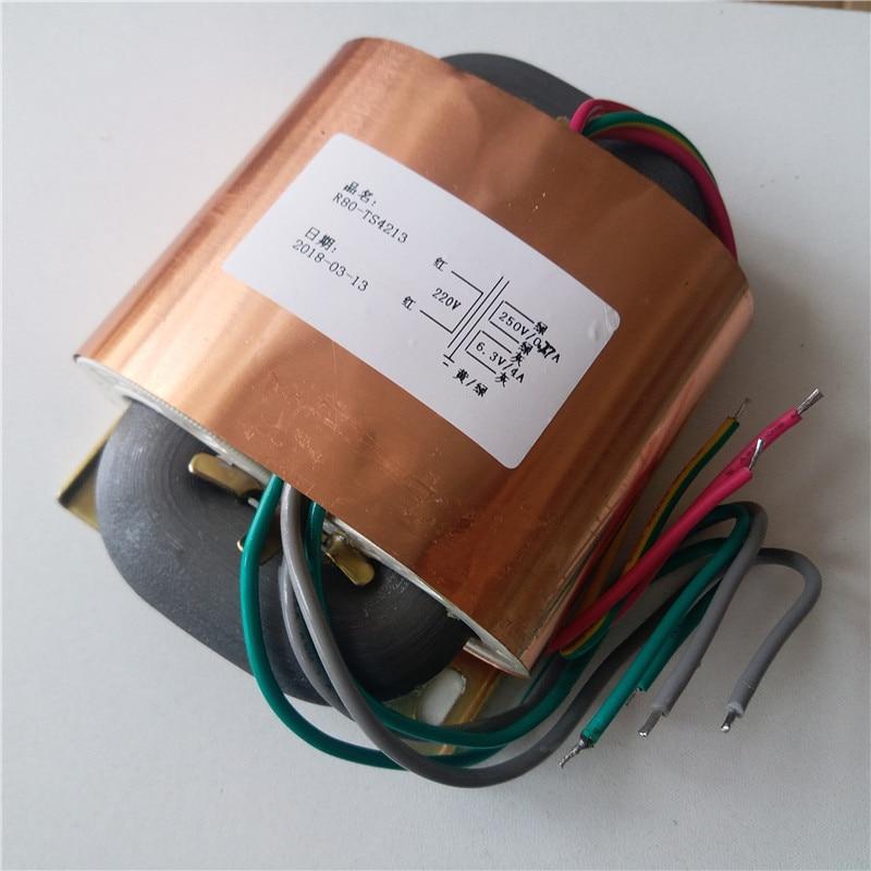 Transformador de núcleo R 250AC 0.27A + 6,3 V 4A 100 va R80 transformador personalizado 220V entrada con escudo de cobre salida para amplificador de potencia