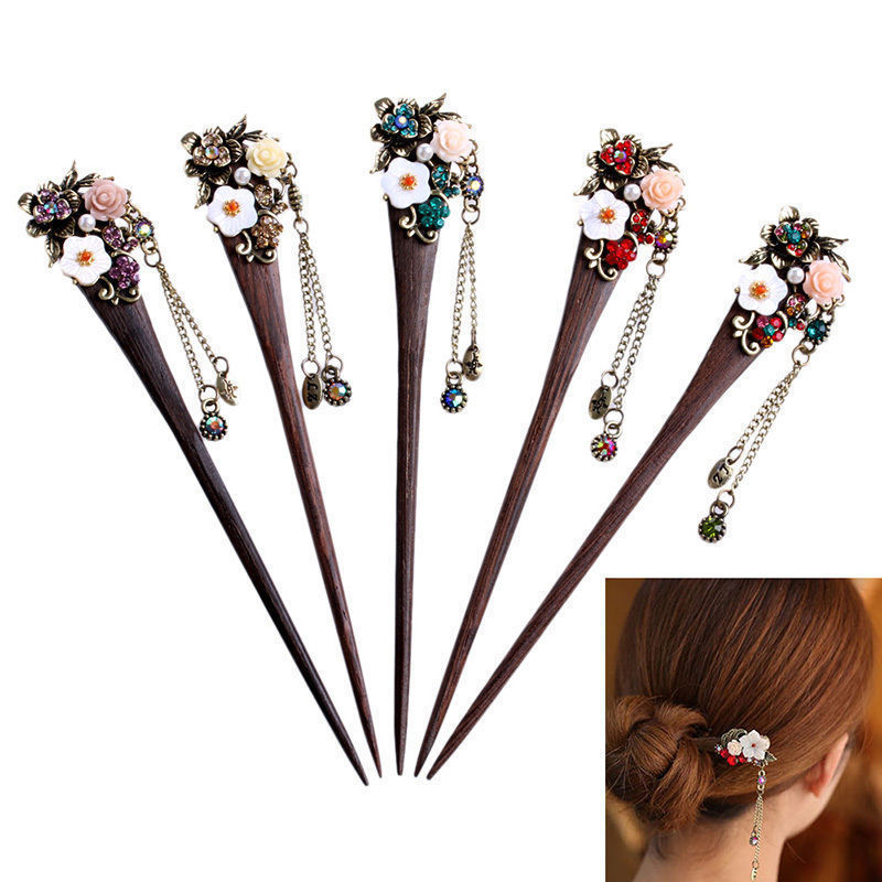 1pcs Women Ladies Vintage Wooden Hair Stick Pin Handmade Rhinestone Flower Wood