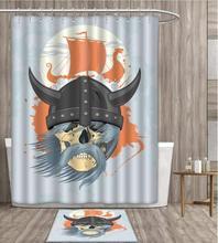 Viking-rideau de douche personnalité dessin animé   Crâne fantôme, Combat nordique, mythologie nordique, cornes médiévales, Dragon tête de bateau