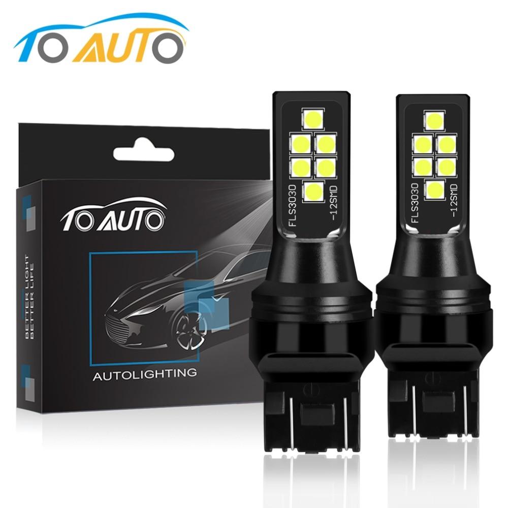 Ampoules lumineuses automobiles   2 pièces T20 W21W WY21W W21/5W 7440 SRCK 7443, feu arrière de clignotant de voiture 12V 1200LM, ambre blanc